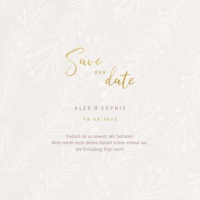 Save-our-Date-Karte zur Hochzeit feine Zweige 3