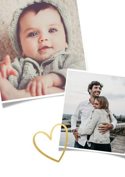Save the Date fotocollage kaart met polaroid en gouden hart 2