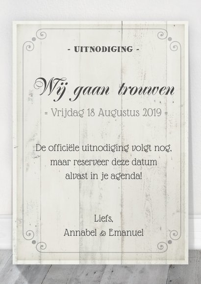 Save the Date Houten Tekstbord 3