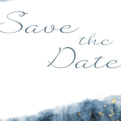 Save the date kaart blauwe waterverf gouden spetters 3