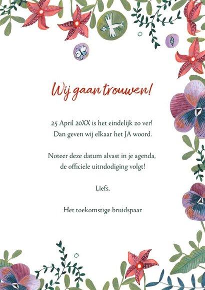 Save the Date kaart botanische bloemen 3