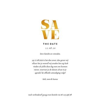 Save the date kaart gouden accenten met foto's vierkant 3