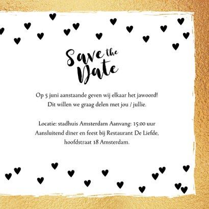 Save the Date kaart hartjes goud en zwartwit 3