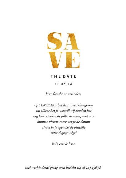 Save the date kaart met foto's en gouden accenten 3
