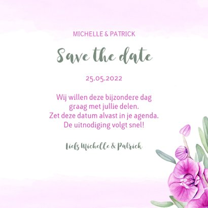 Save the Date kaart orchidee 3