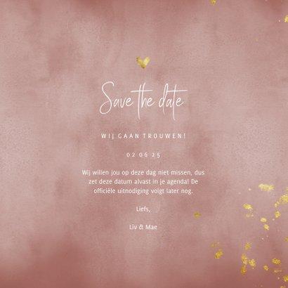 Save the date kaart oud roze waterverf gouden spetters 3