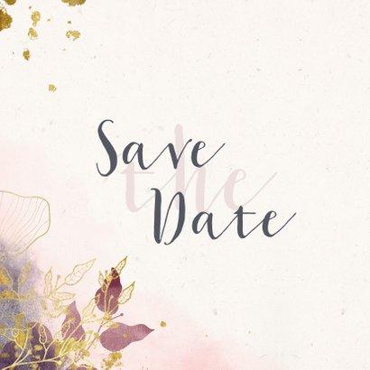Save the Date kaart stijlvol met waterverf en gouden bloemen 2