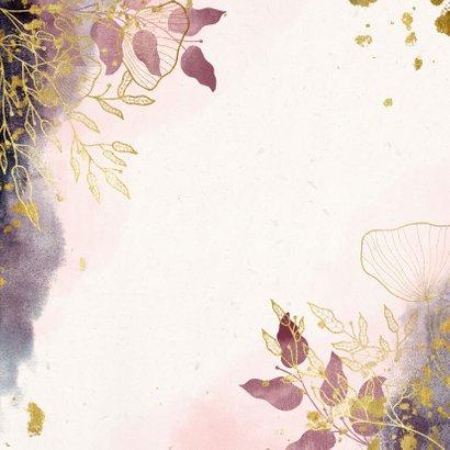 Save the Date kaart stijlvol met waterverf en gouden bloemen Achterkant