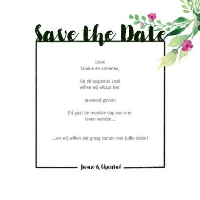 Save the Date kaart Stijlvol wit met bloemen 3