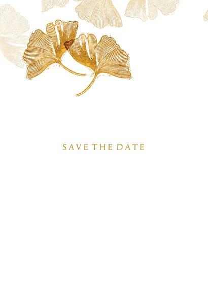Save the date kaart voor de bruiloft ginkgobladeren stempel 2