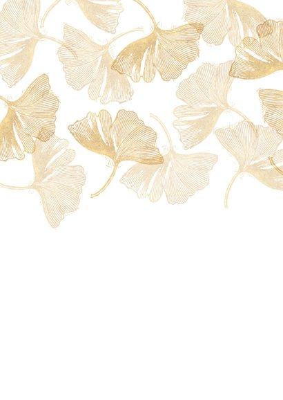 Save the date kaart voor de bruiloft ginkgobladeren stempel Achterkant