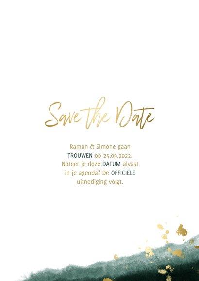 Save the date kalender waterverf gouden tekst 3
