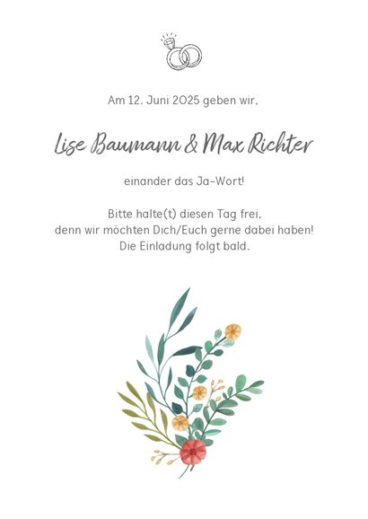 Save-the-Date-Karte Blumenornamente 3