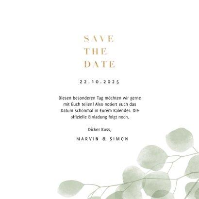 Save-the-Date-Karte eleganter Eukalyptus Foto innen 3