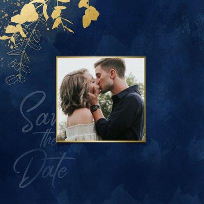 Save-the-Date-Karte Hochzeit Eukalyptus Goldlook 2