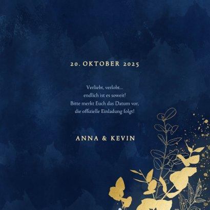 Save-the-Date-Karte Hochzeit Eukalyptus Goldlook 3