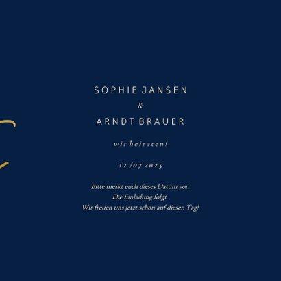 Save-the-Date-Karte Hochzeit Goldene Schrift 3