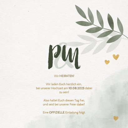 Save-the-Date-Karte Hochzeit mit Foto, Zweigen und Herzen 3