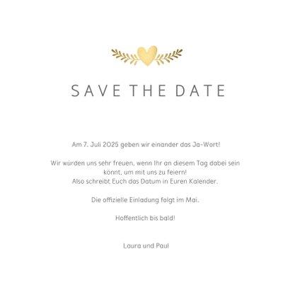 Save-the-Date-Karte Hochzeit mit goldenen Tauben und Herz 3