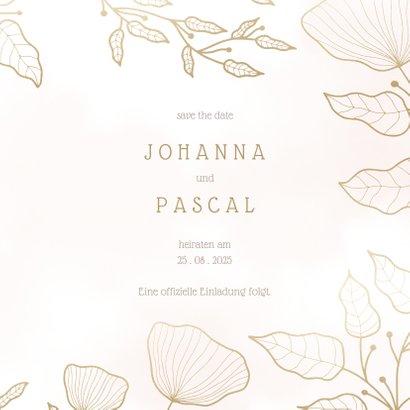 Save-the-Date-Karte Hochzeit rosa mit eleganten Blumen 3