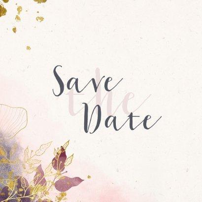 Save-the-Date-Karte Hochzeit rosa mit stilvollen Blumen 2