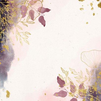 Save-the-Date-Karte Hochzeit rosa mit stilvollen Blumen Rückseite