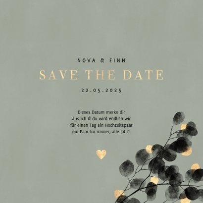 Save-the-Date-Karte Hochzeitsfeier Eukalyptus schwarz 3