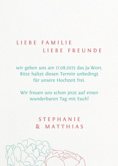 Save-the-Date-Karte mit Pfingstrosen 3