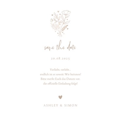 Save-the-Date-Karte zur Hochzeit altrosa Aquarell 3