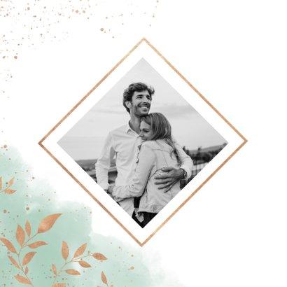 Save-the-Date-Karte zur Hochzeit Aquarell mintgrün mit Foto 2