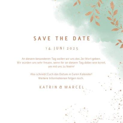 Save-the-Date-Karte zur Hochzeit Aquarell mintgrün mit Foto 3