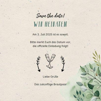 Save-the-Date-Karte zur Hochzeit Blumen & Doodles mit Foto 3