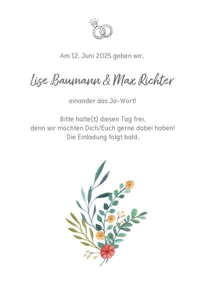 Save-the-Date-Karte zur Hochzeit Blumenornamente 3