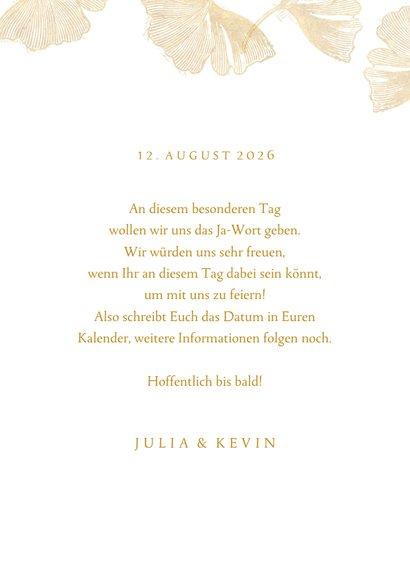 Save-the-Date-Karte zur Hochzeit Ginkgoblätter Stempel 3