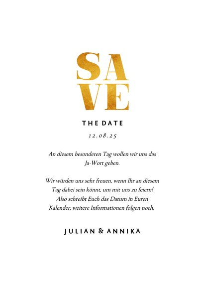 Save-the-Date-Karte zur Hochzeit Goldakzente Fotos A6 3