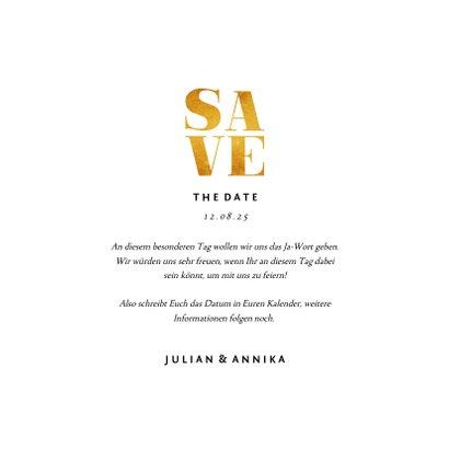 Save-the-Date-Karte zur Hochzeit Goldakzente Fotos Quadrat 3