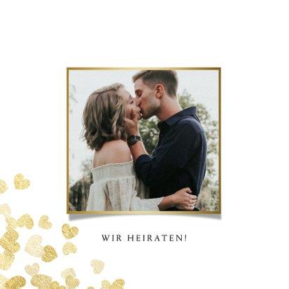 Save-the-Date-Karte zur Hochzeit Goldene Herzen 2