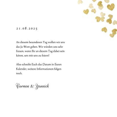 Save-the-Date-Karte zur Hochzeit Goldene Herzen 3