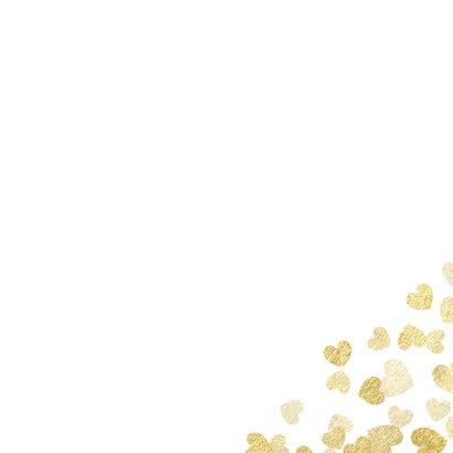Save-the-Date-Karte zur Hochzeit Goldene Herzen Rückseite