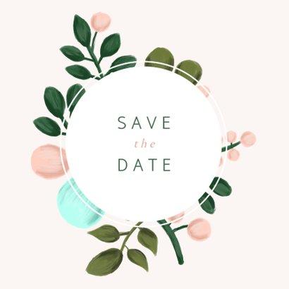 Save-the-Date-Karte zur Hochzeit mit Blumenkranz 2