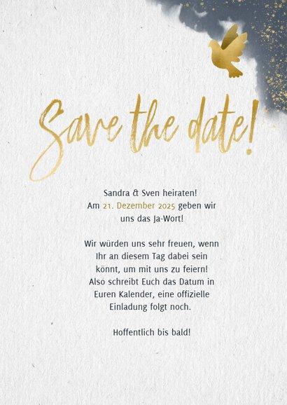 Save-the-Date-Karte zur Hochzeit mit eigenem Foto und Tauben 3