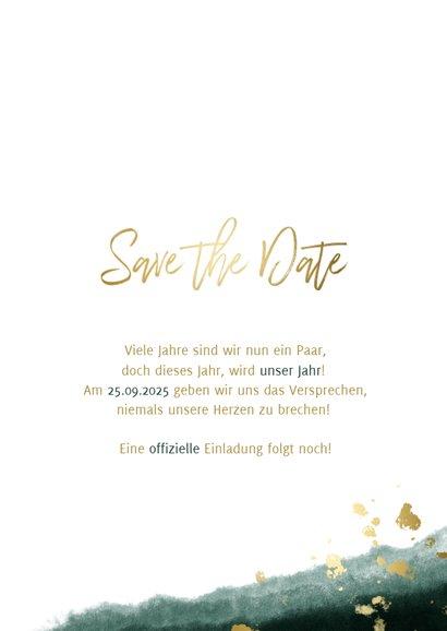 Save-the-Date-Karte zur Hochzeit mit Foto grün mit Kalender 3