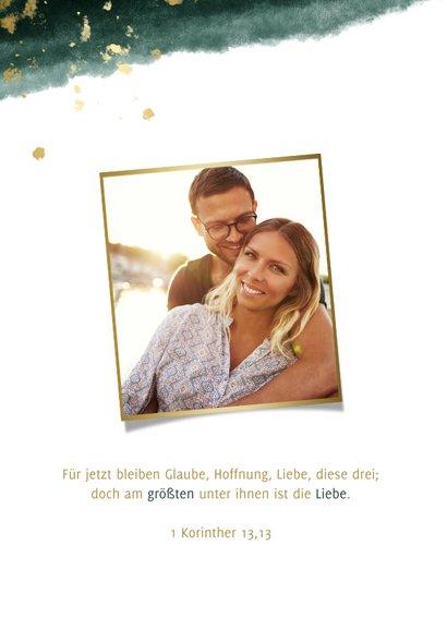 Save-the-Date-Karte zur Hochzeit mit Foto grün mit Kalender 2