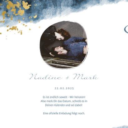 Save-the-Date-Karte zur Hochzeit mit Foto im Aquarelldesign 2