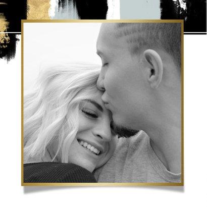Save-the-Date-Karte zur Hochzeit mit Foto und Farbstreifen 2