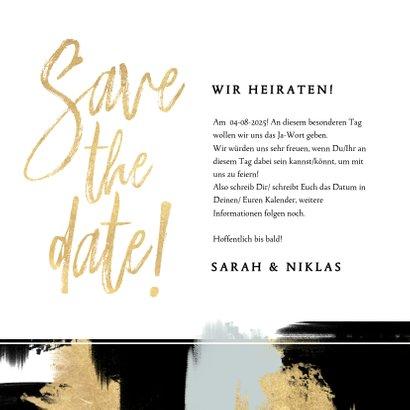 Save-the-Date-Karte zur Hochzeit mit Foto und Farbstreifen 3
