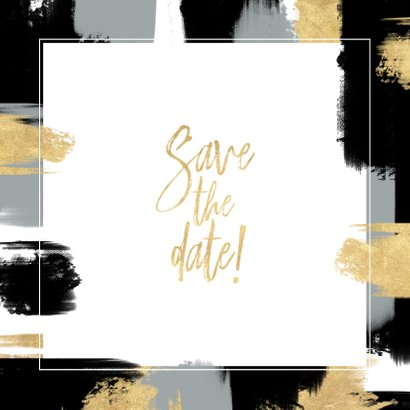 Save-the-Date-Karte zur Hochzeit mit Foto und Farbstreifen Rückseite