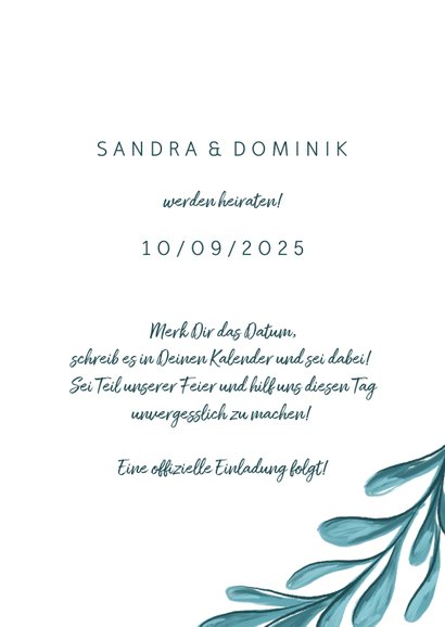 Save-the-Date-Karte zur Hochzeit mit Zweigen  3