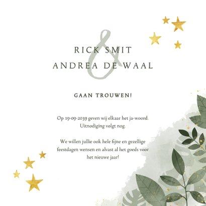 Save the date kerstkaart botanische print en gouden sterren 3