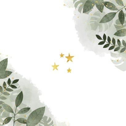 Save the date kerstkaart botanische print en gouden sterren Achterkant
